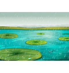 Rain on the pond vector