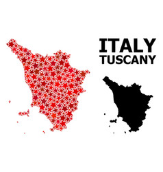red star pattern map tuscany region vector image