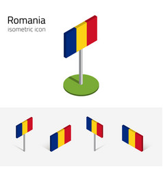 Romania flag set of 3d isometric icons vector