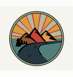 Round logo in retro style mountains forest road vector