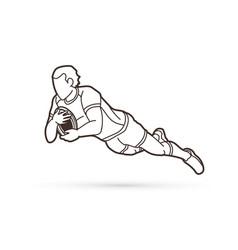 rugplayer action cartoon sport graphic vector image