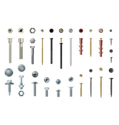 Screws and bolts realistic set workshop and vector