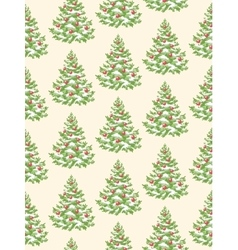 Seamless pattern with evergreen christmas tree vector