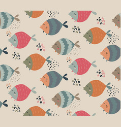 seamless pattern with funny fishes vector image
