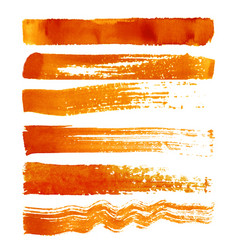 Set of orange brush strokes vector