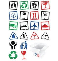 set of packing symbol stamps vector image