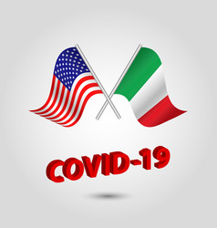 Set two waving crossed flags usa and italy vector