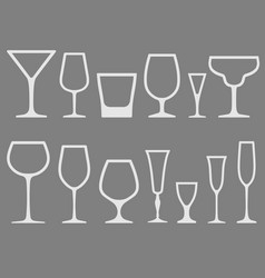 Set white empty different shapes wineglass vector