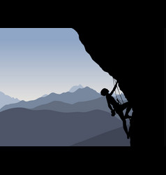 silhouette of a climber vector image