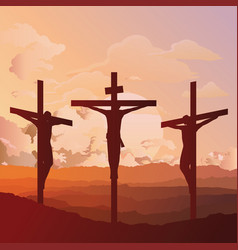 Silhouetted crucifixion christ vector