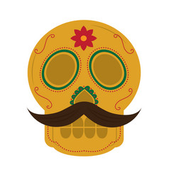 skull with mustache the day of the death mexican vector image
