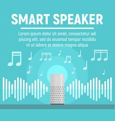 Smart speaker concept banner flat style vector