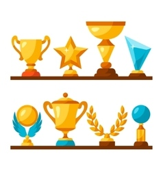 sport or business trophy award icons set on vector image