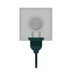 Square power socket and black plug isolated vector
