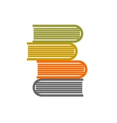 stack of books on white background flat vector image