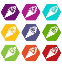 sushi restaurant icons set 9 vector image
