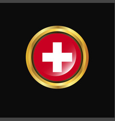 Switzerland flag golden button vector