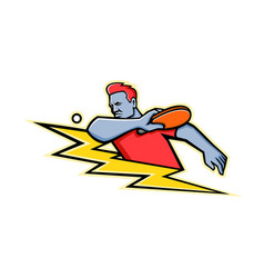 Table tennis player lightning bolt mascot vector