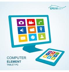 Tablet pc computer display vector