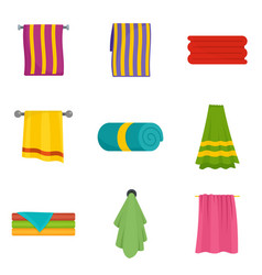 Towel hanging spa bath icons set isolated vector