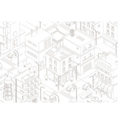 Town street intersection road buildings top view vector