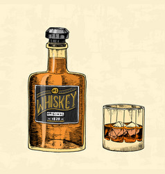 vintage whiskey bottle with label and a glass vector image