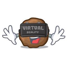 Virtual reality meatball mascot cartoon style vector