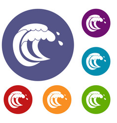 Wave of sea tide icons set vector