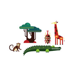 wild african animals set monkey elements of vector image