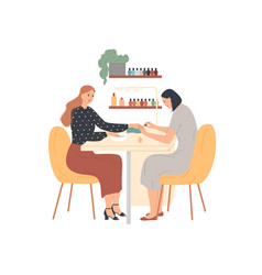 woman in nail salon receiving manicure master vector image