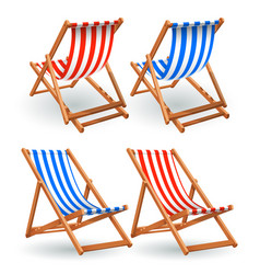 wooden beach chair set isolated on a white vector image