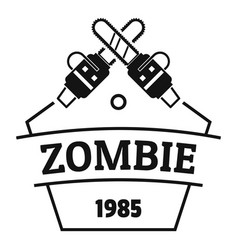 Zombie attack logo simple black style vector