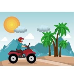 atv driver man beach mountain background vector image