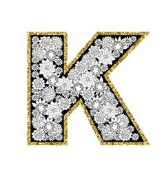 Hand drawn floral alphabet design Gold glittering vector image vector image