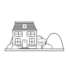 Line house next to mountains and trees vector