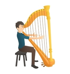 Man plays on harp icon flat style vector image