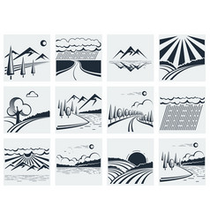 Nature landscape icons vector image vector image