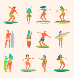 People with surfers vector