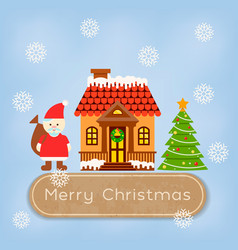 santa claus and reindeer near the snowcovered vector image