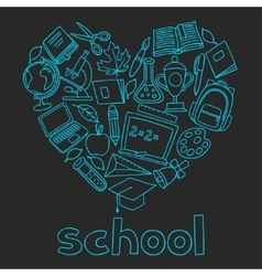 School background with hand drawn icons on chalk vector