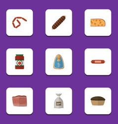 flat icon food set of bratwurst sack ketchup and vector image vector image