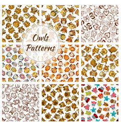 owl seamless pattern background with brown bird vector image vector image