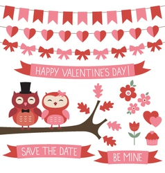 Owls in love set vector image