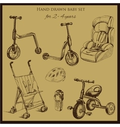 retro hand drawn baby set for 2-4 years old vector image vector image