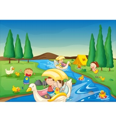 river and kids vector image vector image