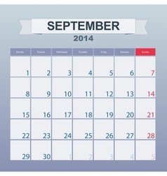 September 2014-planning calendar vector image