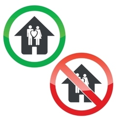 Family house permission signs set vector image