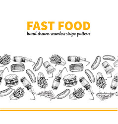 fast food hand drawn seamless stripe vector image vector image