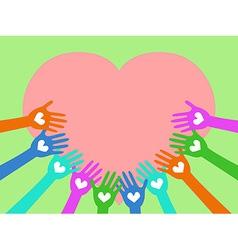 hands around heart vector image vector image