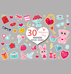 happy valentine s day fashion icons set or vector image vector image